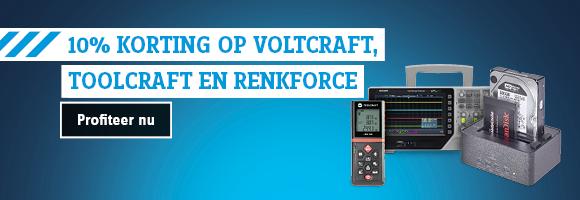 10% korting op onze eigen sterke merken Voltcraft, Toolcraft en Renkforce!